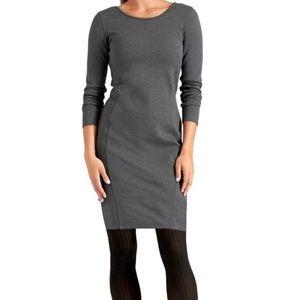 Athleta Illusion gray bodycon back zipper dress